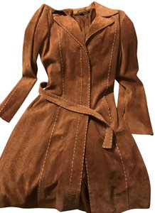 Wilsons Leather Suede Trench Brown Leather Jacket