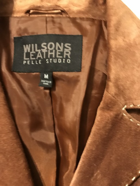 Wilsons Leather Suede Trench Brown Leather Jacket Image 2