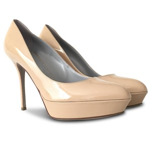 Sergio Rossi Platform Patent Leather Patent Leather Stiletto Beige Pumps