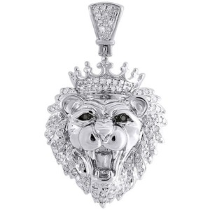 Other Diamond Mini King Crown Lion Head Pendant .925 Sterling Silver Charm 0.36 Tcw.