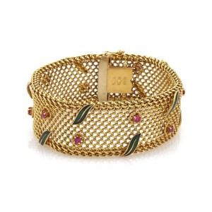 Other Vintage 2ct Ruby 18k Yellow Gold Wide Mesh Floral Leaf Bracelet