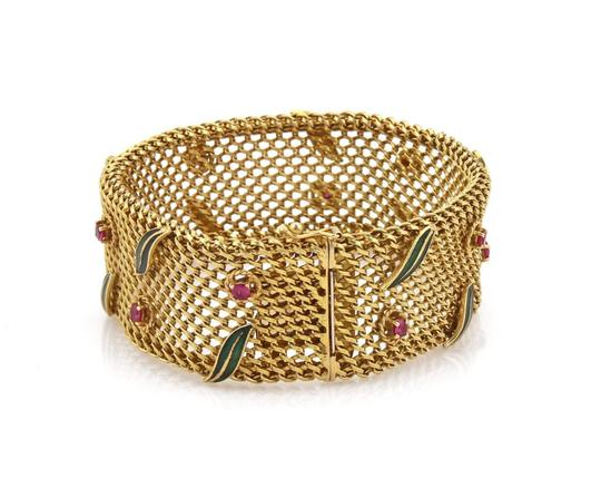 Other Vintage 2ct Ruby 18k Yellow Gold Wide Mesh Floral Leaf Bracelet Image 2