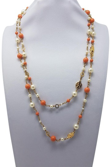 Preload https://img-static.tradesy.com/item/22819785/tory-burch-gold-red-orange-gold-tone-faux-peral-logo-charm-bead-necklace-0-2-540-540.jpg