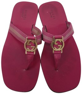 Gucci Leather T-strap Guccissima Gg Hardware Red, Gold, Pink Sandals