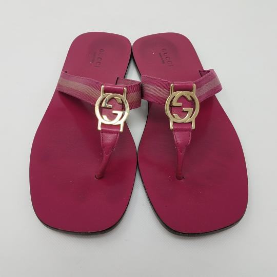 Gucci Leather T-strap Guccissima Gg Hardware Red, Gold, Pink Sandals Image 1