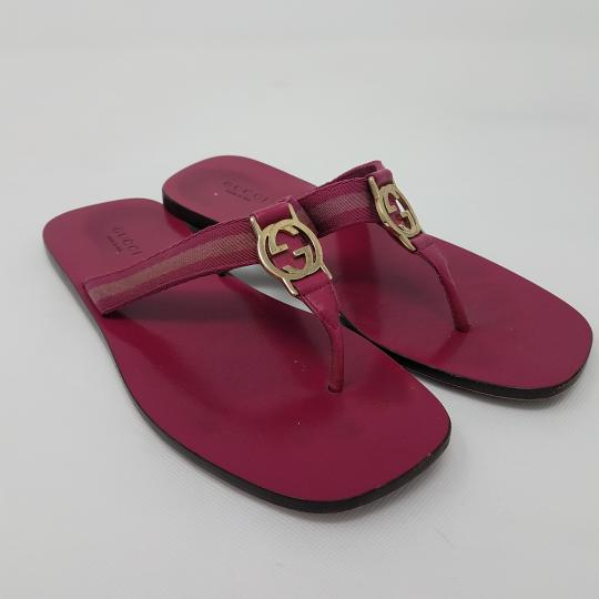 Gucci Leather T-strap Guccissima Gg Hardware Red, Gold, Pink Sandals Image 2