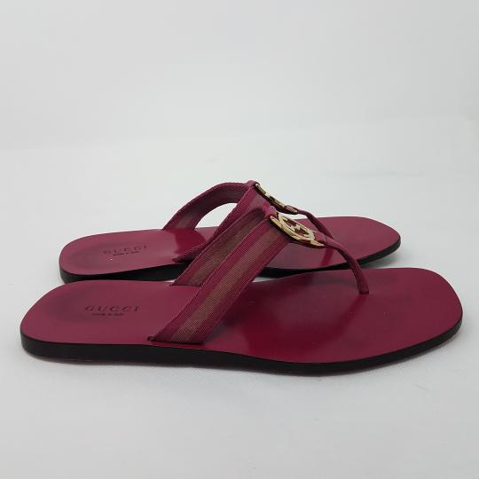 Gucci Leather T-strap Guccissima Gg Hardware Red, Gold, Pink Sandals Image 4