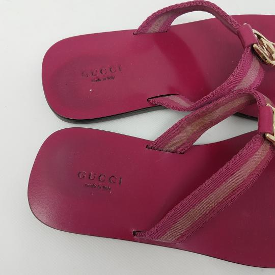 Gucci Leather T-strap Guccissima Gg Hardware Red, Gold, Pink Sandals Image 5