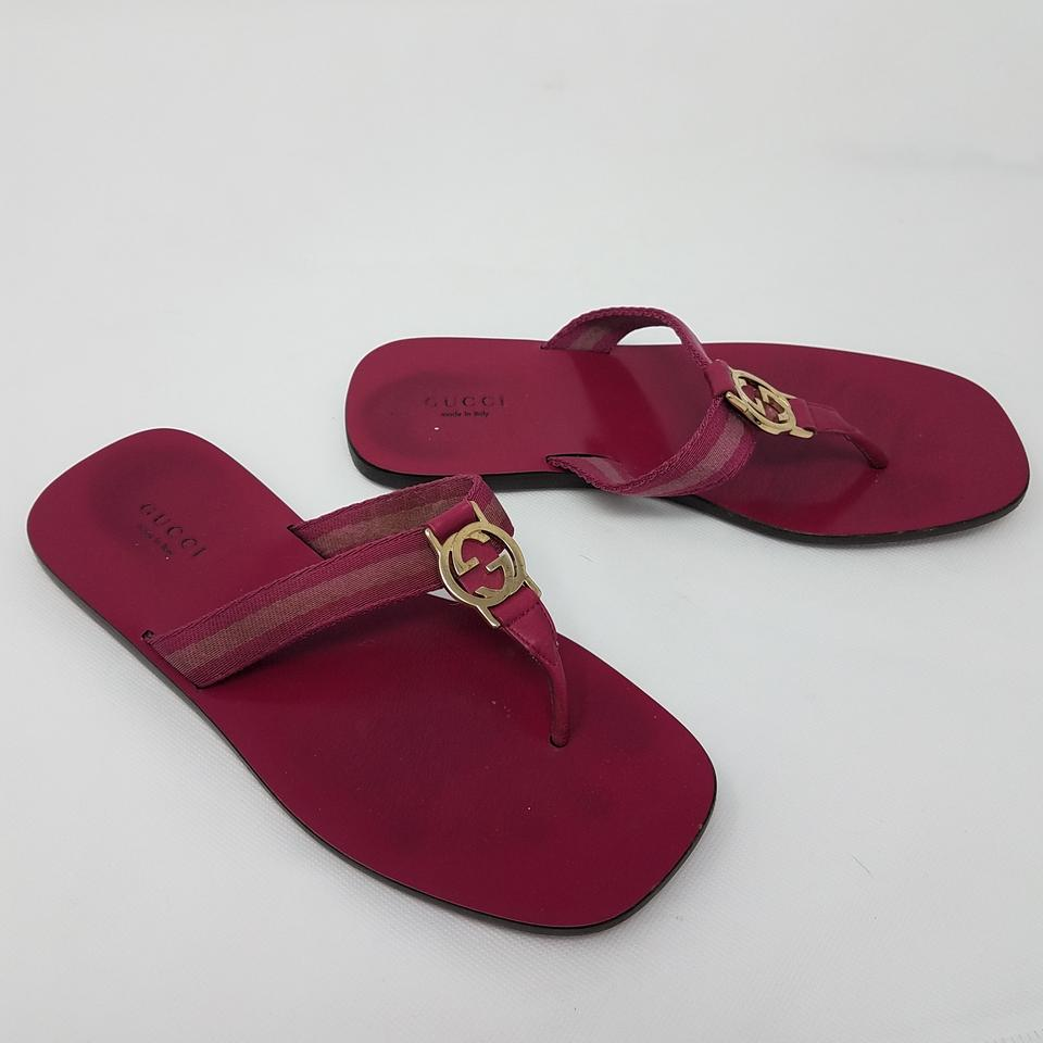 31b63986d1e Gucci Red Gold Pink Fuchsia Leather Web Gold-tone Gg Logo Sandals ...