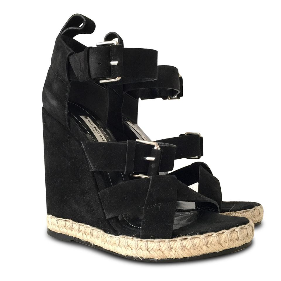 d1c3b3805543 Balenciaga Black New Rope Track Suede Sandals - 38c Wedges. Size  EU 38 ...