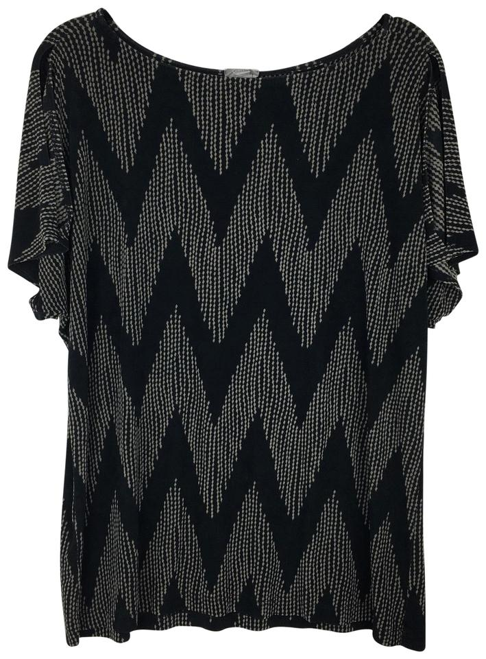 820e646c88b Chico's Black Tan Travelers Chevron Cold Shoulder Blouse Size 16 (XL ...
