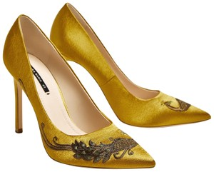 Zara Embroidered Embellished Satin Court Feather yellow Pumps