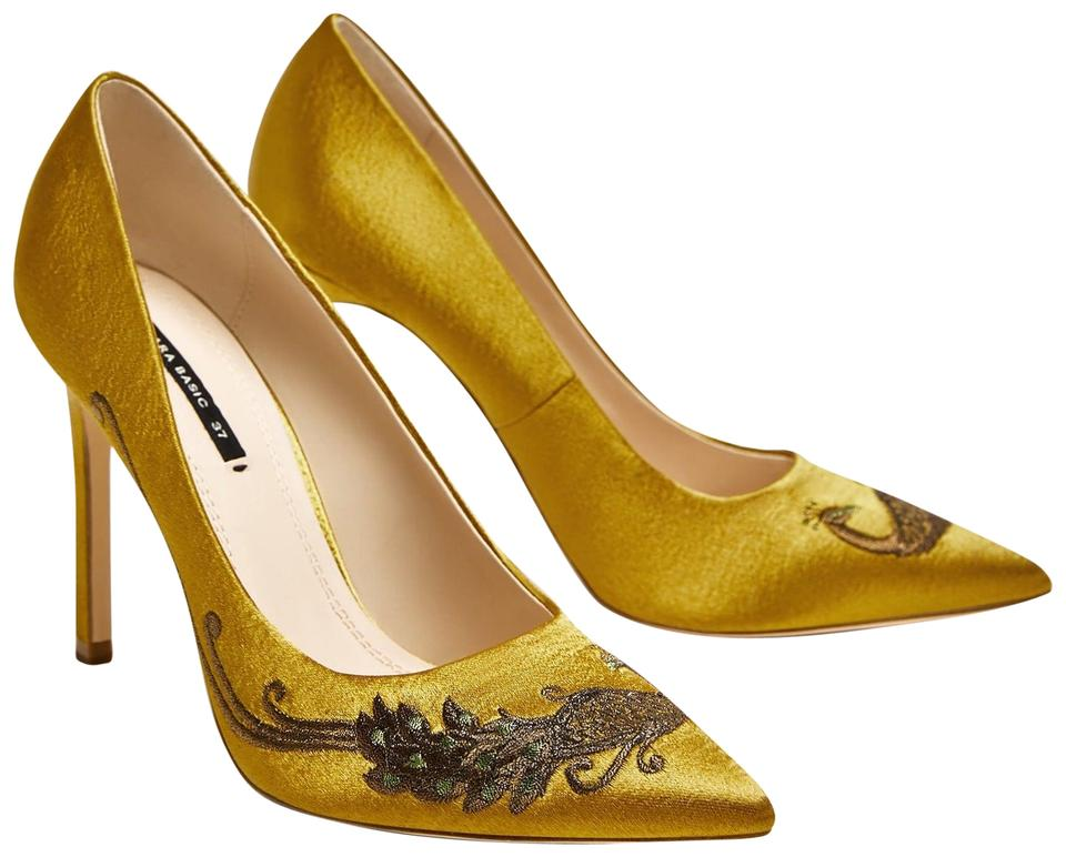 7c8f0aff7a83 Zara Yellow Satin Embellished Embroidered Court Pumps. Size  US 5 ...