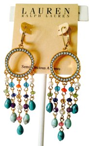 Ralph Lauren NWOT Turquoise & Faceted Crystal Long Shaky Earrings
