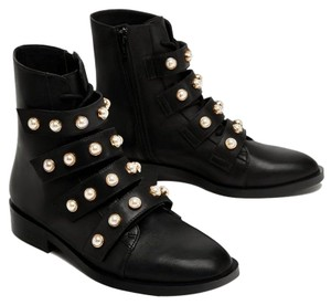 Zara Pearl Ankle Strappy Lace Zip black Boots