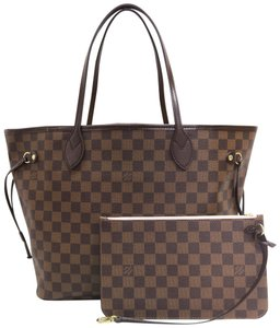 Louis Vuitton Lv Neverfull Canvas Mm Damier Shoulder Bag