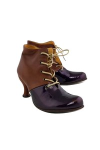 John Fluevog Lace Brown & Purple Boots