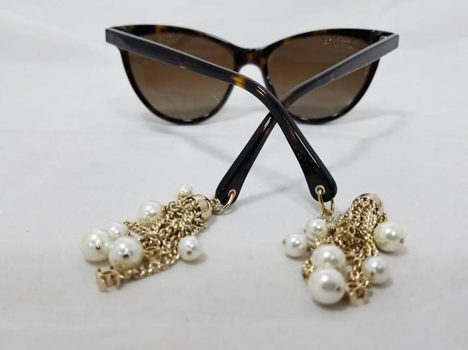 756a18f69b Chanel 5341-H Tortoise Polarized Cat Eye Gold Chain Pearl earrings  Sunglasses. 123456789101112