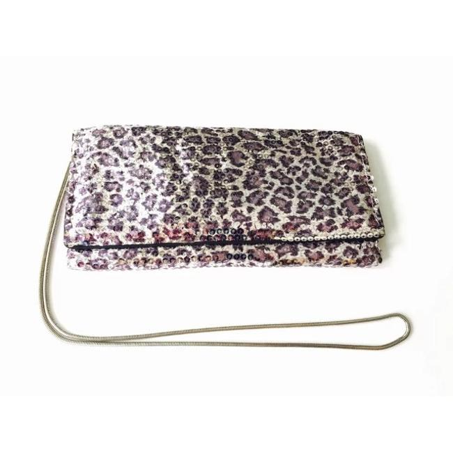 Item - Leopard Silver Chain Strap Purple Sequin Cross Body Bag