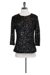 French Connection Sequin Top Black