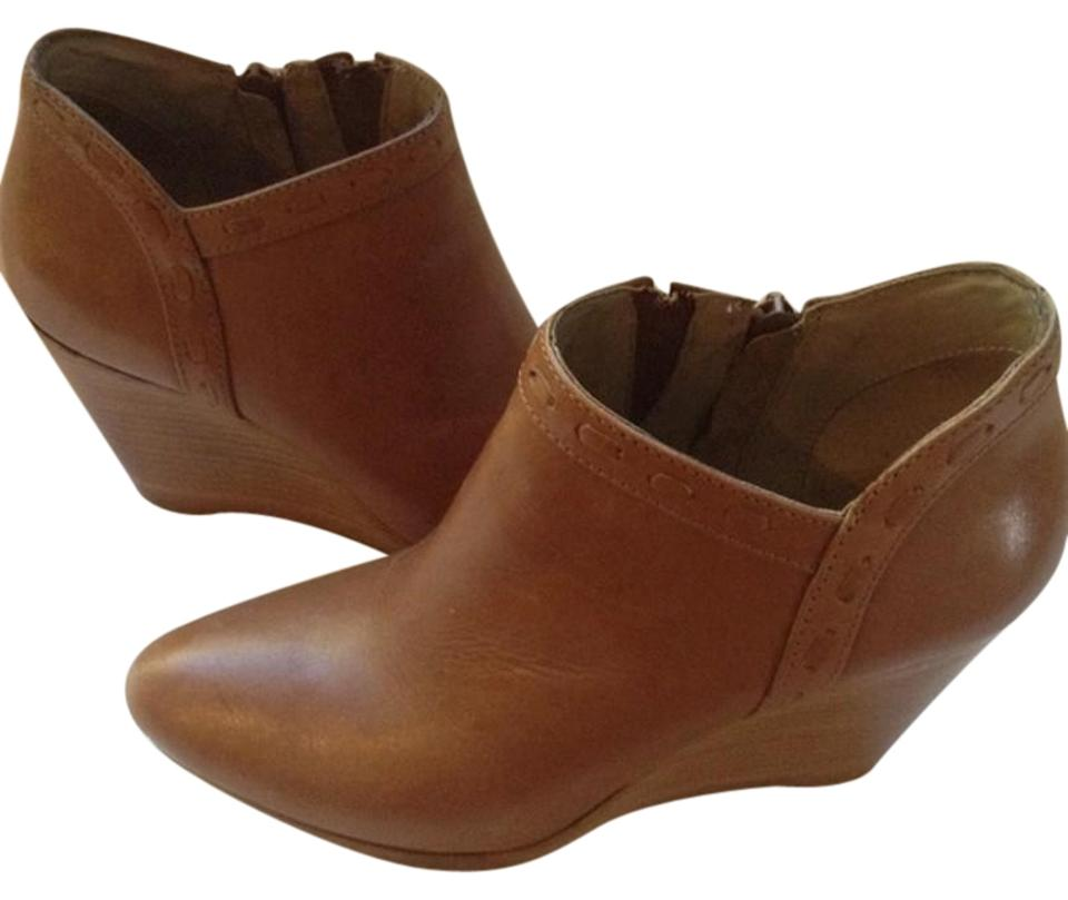 373dd4699bd Jack Rogers Tan Leather Wedge Ankle Boots Booties Size US 6 Regular ...