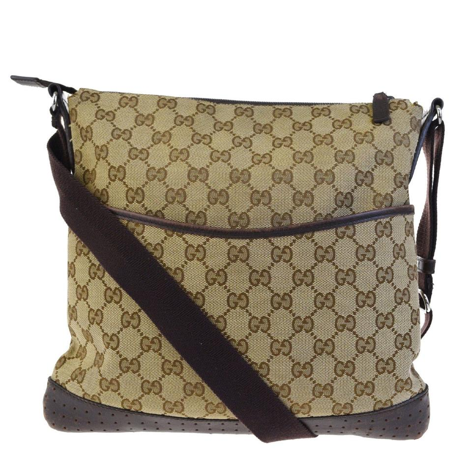 4c4c3b10432 Gucci Gg Pattern Shoulder 05ed172 Brown Canvas Leather Cross Body ...