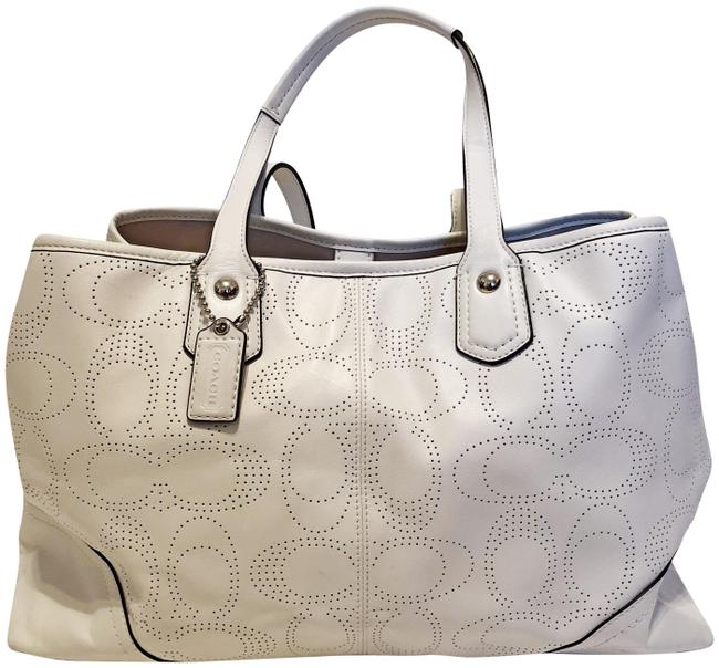 Coach Carryall 19681 Perforated White Full-grain Cowhide Leather Shoulder Bag Coach Carryall 19681 Perforated White Full-grain Cowhide Leather Shoulder Bag Image 1
