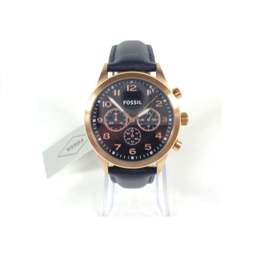 Fossil Fossil BQ2129 Chronograph Rose Gold Navy Blue Leather Band Watch Image 1