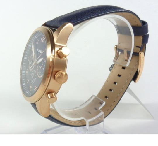 Fossil Fossil BQ2129 Chronograph Rose Gold Navy Blue Leather Band Watch Image 2