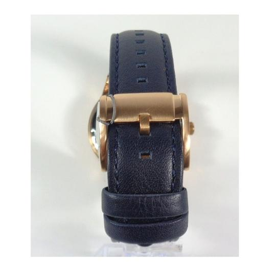 Fossil Fossil BQ2129 Chronograph Rose Gold Navy Blue Leather Band Watch Image 3