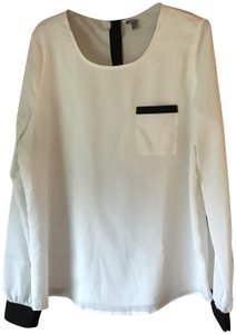 Charlotte Russe Patch Pocket Rounded Neckline Longsleeve Button Cuffs Button Close Top White w/Black