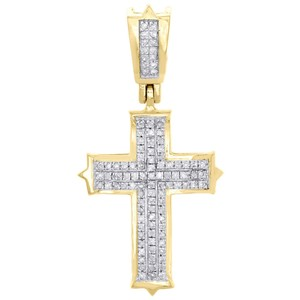 Jewelry For Less 10K Yellow Gold Round Diamond Cross Pendant 1.20
