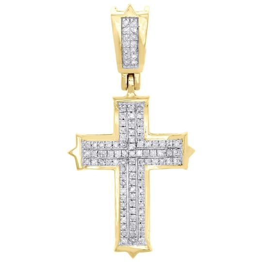 Preload https://img-static.tradesy.com/item/22820883/jewelry-for-less-yellow-10k-gold-round-diamond-cross-pendant-120-pave-015-ct-charm-0-0-540-540.jpg