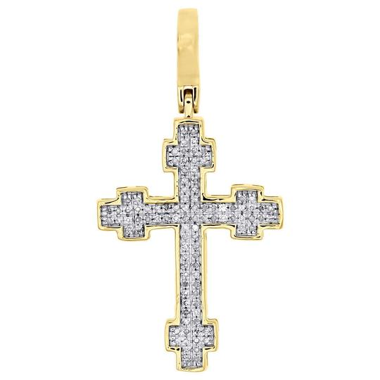 Preload https://img-static.tradesy.com/item/22820914/jewelry-for-less-yellow-10k-gold-diamond-cross-pendant-130-mini-pave-16-ct-charm-0-0-540-540.jpg