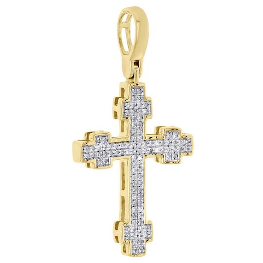 Jewelry For Less 10K Yellow Gold Diamond Cross Pendant 1.30