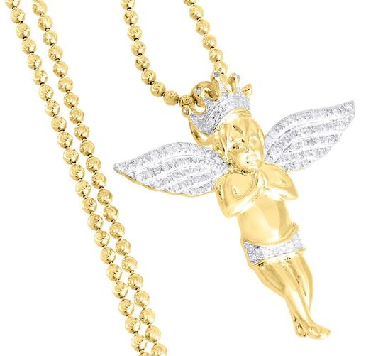 Jewelry For Less Diamond Pendant Mens Sterling Silver Praying Angel Wings Charm 0.45 ct Image 4