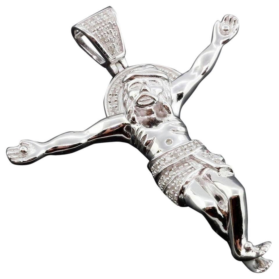 Jewelry for less silver diamond jesus body pendant cross 925 jewelry for less diamond jesus body pendant cross 925 sterling silver charm 033 ct biocorpaavc Images