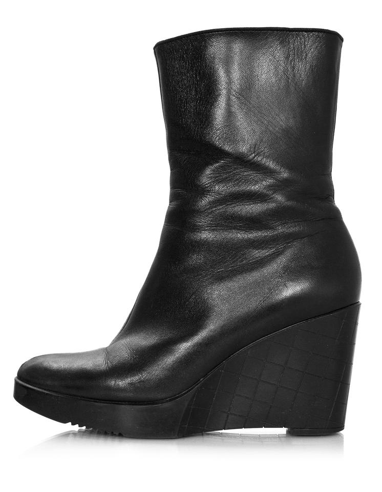 91a061861262 Robert Clergerie Black Leather Wedge Ankle with Box Boots Booties ...