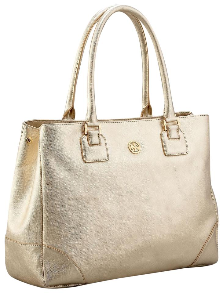 214371ab685a Tory Burch Hardware Leather Tote in Metallic Gold Image 0 ...