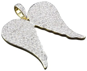 Jewelry For Less Diamond Angel Wings Pendant Sterling Silver Round Cut Charm 1 Ct.
