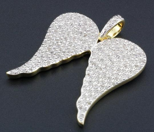 Jewelry For Less Diamond Angel Wings Pendant Sterling Silver Round Cut Charm 1 Ct. Image 1