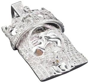 Jewelry For Less Diamond Jesus Face Pendant .925 Sterling Silver Crown Charm 0.60 Ct