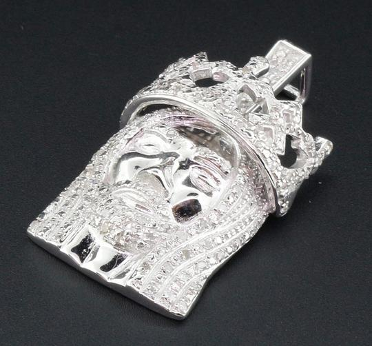 Jewelry For Less Diamond Jesus Face Pendant .925 Sterling Silver Crown Charm 0.60 Ct Image 1