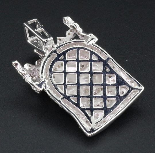 Jewelry For Less Diamond Jesus Face Pendant .925 Sterling Silver Crown Charm 0.60 Ct Image 2