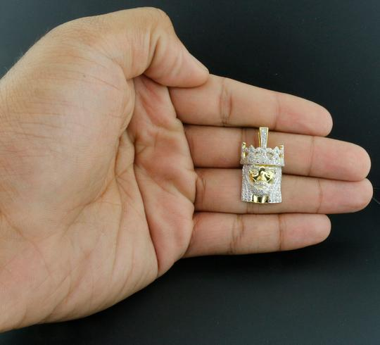 Jewelry For Less Diamond Jesus Face Pendant .925 Sterling Silver Crown Charm 0.60 Ct Image 6