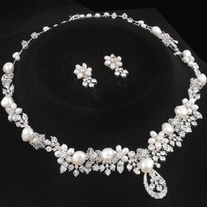 Silver/Rhodium Silver/Rhodium Stunning Marquise Crystal Luxe Statement Necklace Jewelry Set