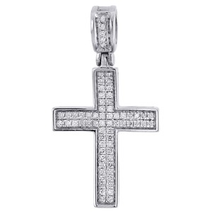 Jewelry For Less Diamond Cross Pendant Real 10K White Gold 0.25 Ct. Pave Concave Charm