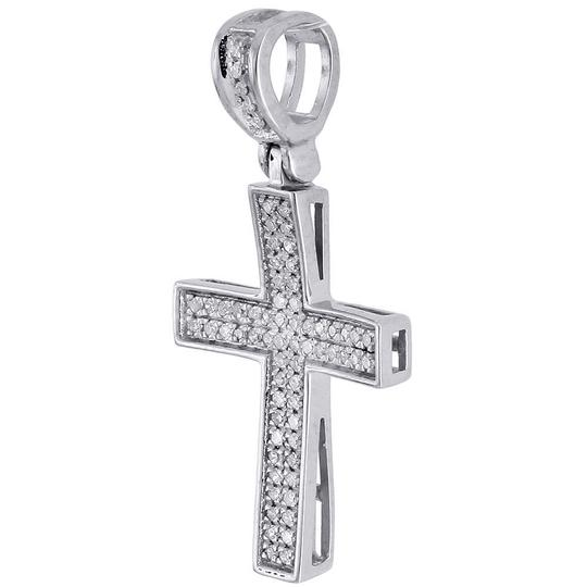 Jewelry For Less Diamond Cross Pendant Real 10K White Gold 0.25 Ct. Pave Concave Charm Image 1