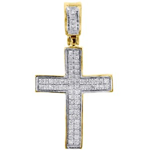 Jewelry For Less Diamond Cross Pendant Real 10K Yellow Gold 0.25 Ct. Pave Concave Charm