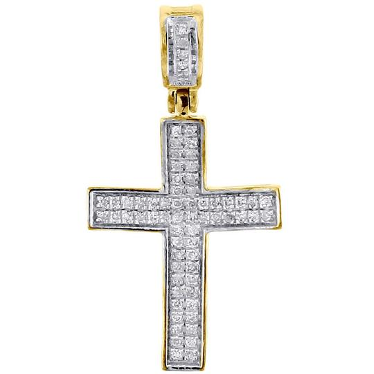 Preload https://img-static.tradesy.com/item/22821255/jewelry-for-less-yellow-gold-diamond-cross-pendant-real-10k-025-ct-pave-concave-charm-0-0-540-540.jpg